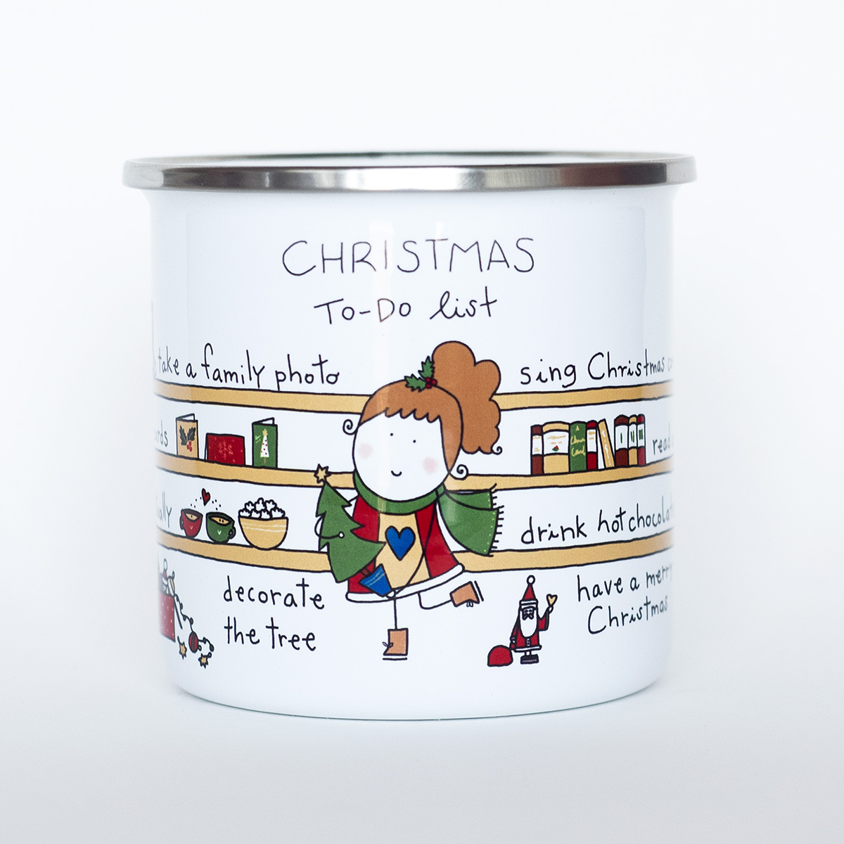 christmas to do list enamel mug